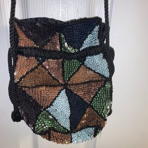 urban outfitters sequined drawstring purse